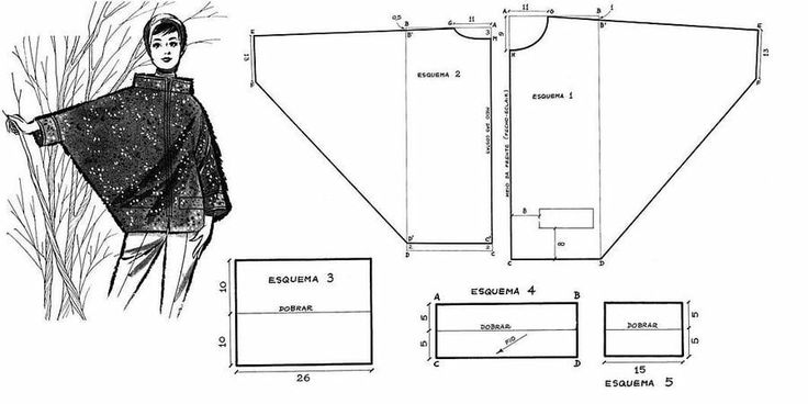 Free Vintage Cape Sewing Draft Pattern