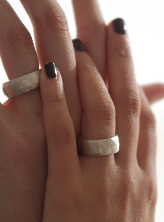 WEDDING bands wide solid sterling silver hand made by jacandhugo
