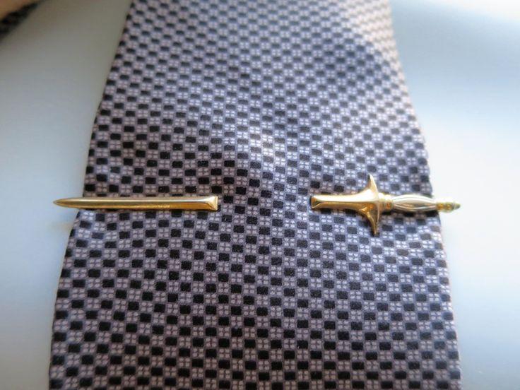 Swank Sword Tie Bar Clip Slide On Gold Silver Sword Tie Clasp Pierced Magic Illusion Tie Clasp Mens Formal Wear Jewelry by BonniesVintageAttic on Etsy