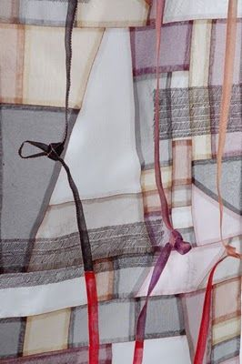 """By Jiseon Lee Isbara: detail from fiber art entitled """"Scraps of Thoughts,"""" hand-stitched and drawn, silk fabric, 2009"""