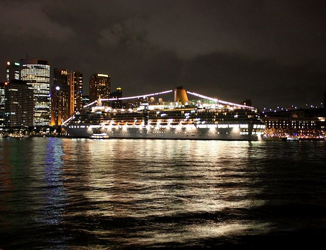 P& O's cruise ship The Arcadia at the Overseas Passenger Terminal, right in the heart of the action at Sydney Cove.