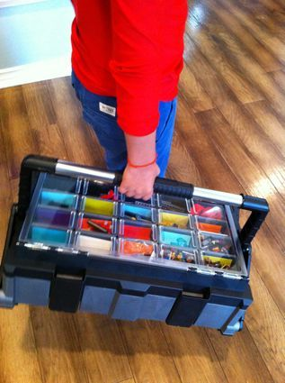 tool chest as portable lego organizer (Husky 22 inch Cantilevered Organizer, 29.97)