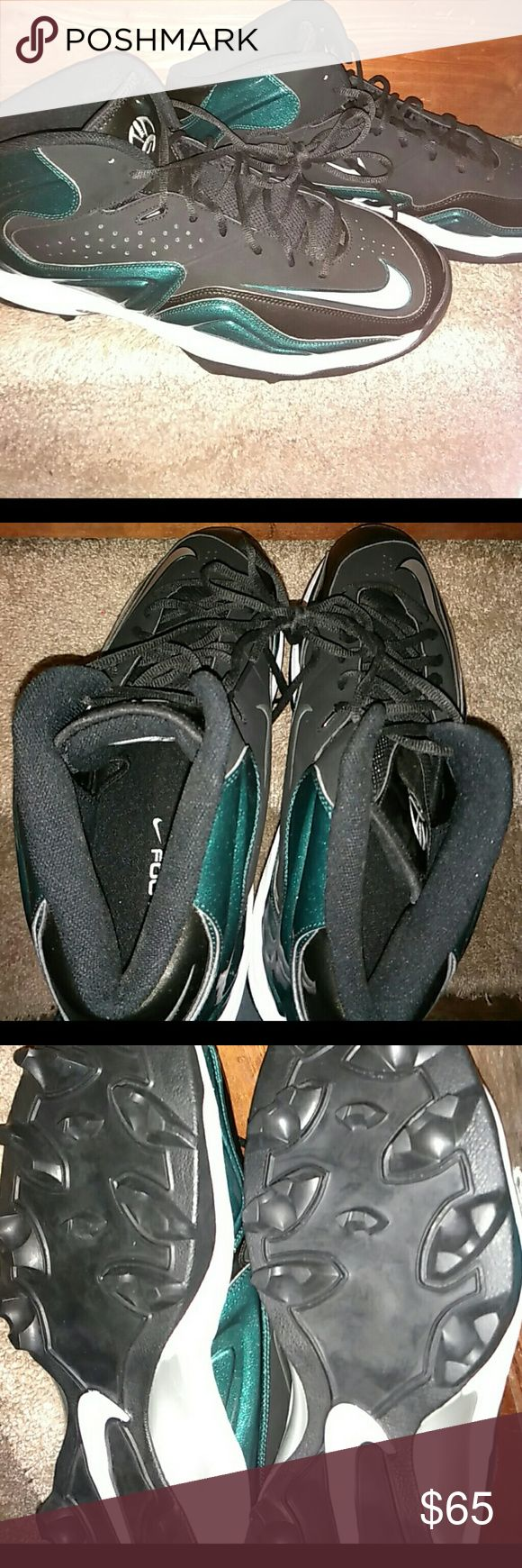 New Men's Nike Football Cleat Shoes /size 17 NWOT Men's Nike Football Shoes. Cleats on bottom as shown.  These are Emerald green with a hint of shimmer to them and black with white accents.  Never worn.  I assume we're customs since they are a size 17 but not positive. Nike Shoes Athletic Shoes
