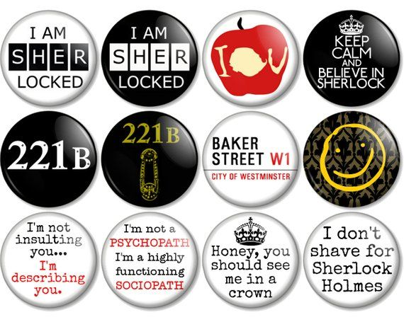 "High Quality -MADE IN UK 1/"" 25mm Sherlock Holmes Button Badge Pin Collection"