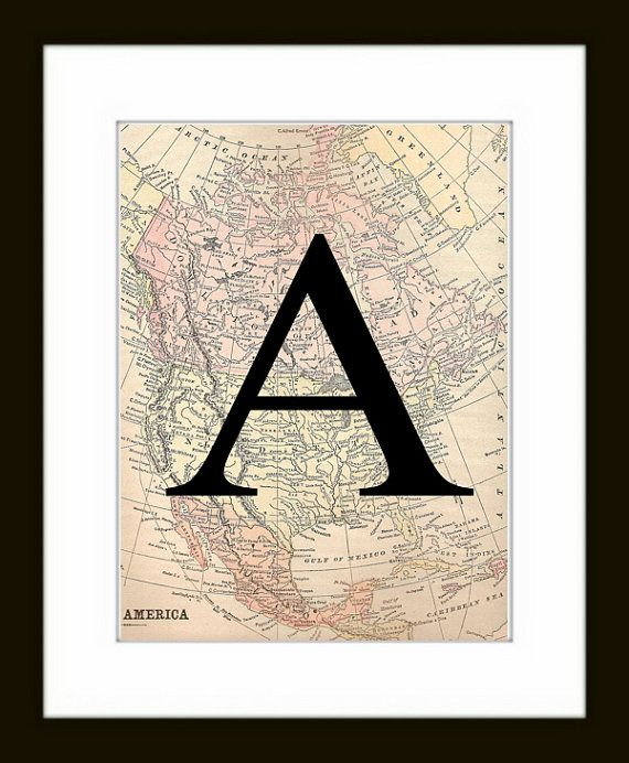 Letter Art print - monogram map wall art - custom initial artwork, Vintage Map Print, Map