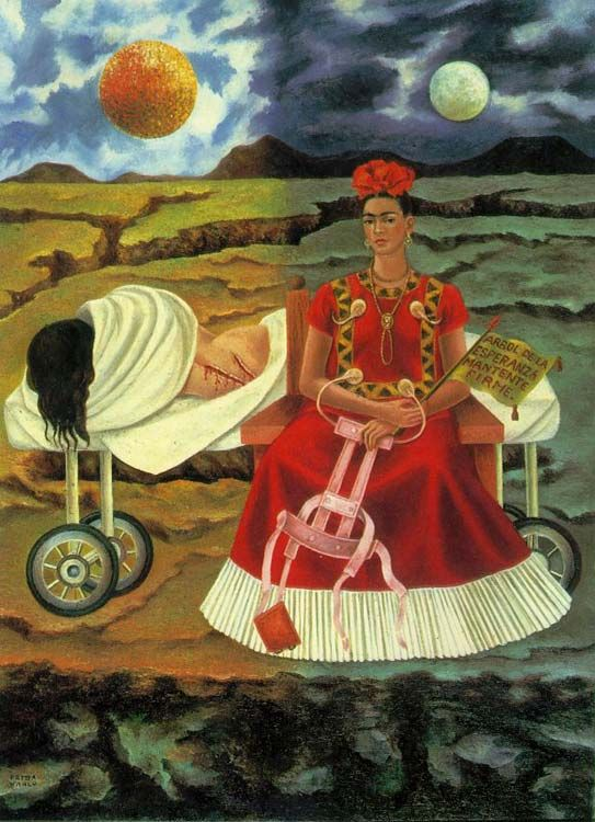Tree of Hope, Keep Firm, 1946 by Frida Kahlo. Frida Kalo rejected the label of a surrealist because all her work was inspired by her reality.