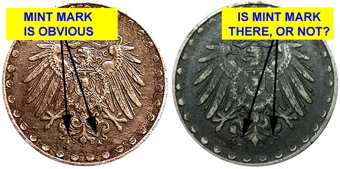 Value of Germany 10 Pfennig 1915 to 1922