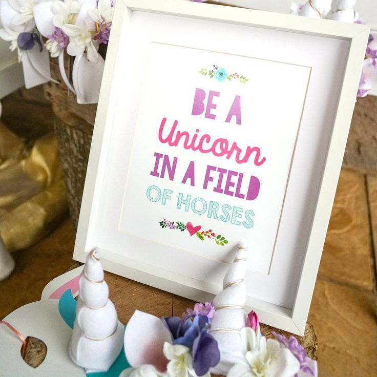 printable horse birthday party invitations free%0A Unicorn Birthday Party Poster   Floral Unicorn Print   Unicorn Table Decor