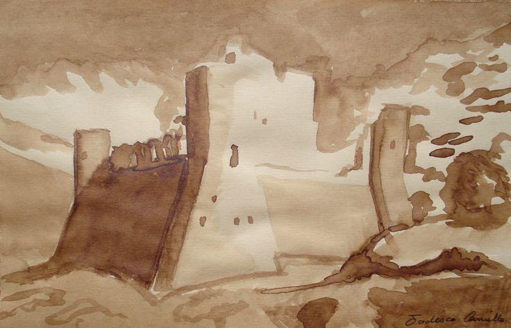paesaggio con castello - mordente color noce chiaro su carta gialla, di misure 14,4x21 cm
