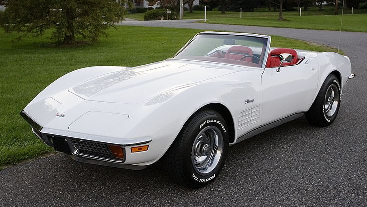 My Favorite Car of all time 1971 White Corvette Stingray with chrome trime, convertible.....Re-pin...Brought to you by #CarInsurance at #HouseofInsurance in Eugene, Oregon