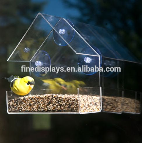evelots clear acrylic bird window feeder strong all weather suction cups