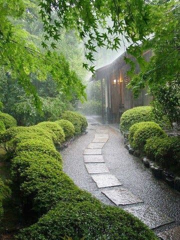 Rainy Day, Kyoto, Japan. Loving this gravel walk beside the house with box woods.
