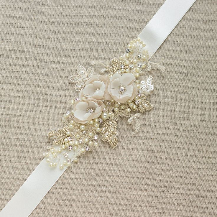 Champagne Ivory Bridal sash Wedding dress belt narrow thin unique mini flowers floral shabby rustic vintage accessory lace rhinestone by LeFlowers on Etsy https://www.etsy.com/listing/201019530/champagne-ivory-bridal-sash-wedding