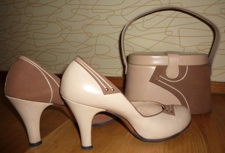 50's Beige 2 Toned Shoes Matching Purse