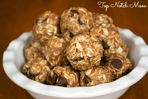 No Bake Energy Bites - I also add 1 or 2 scoops of Herbalife protein powder to mine.  Also try substituting craisins instead of the choc chips.