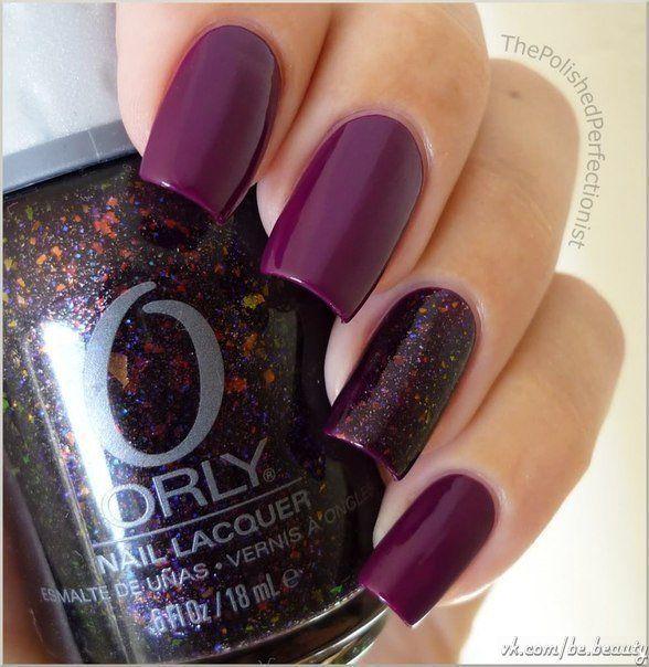 Beach nails, Dark purple nails, Dark violet nails, Long nails, Mica nails, Nails with mica, Plum nails, Purple nails