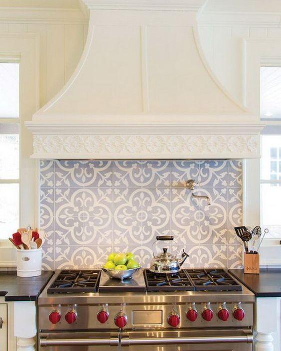 Best 25+ Behind stove backsplash ideas on Pinterest   Brick wallpaper backsplash, Gray and white ...