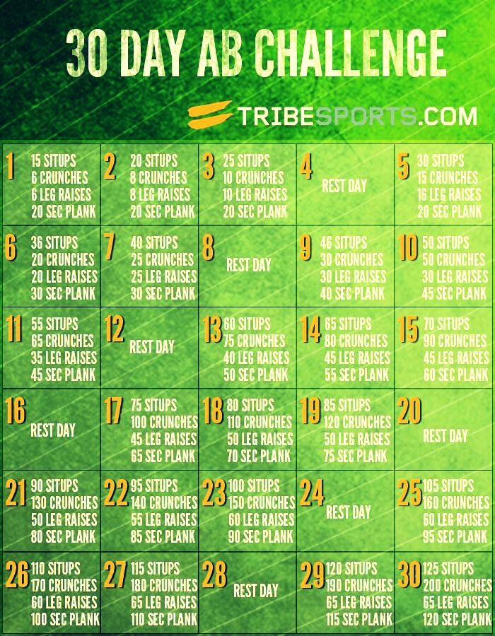 30 Day Abs Challenge 💜   Healthy Stuff   Pinterest   Ab ...