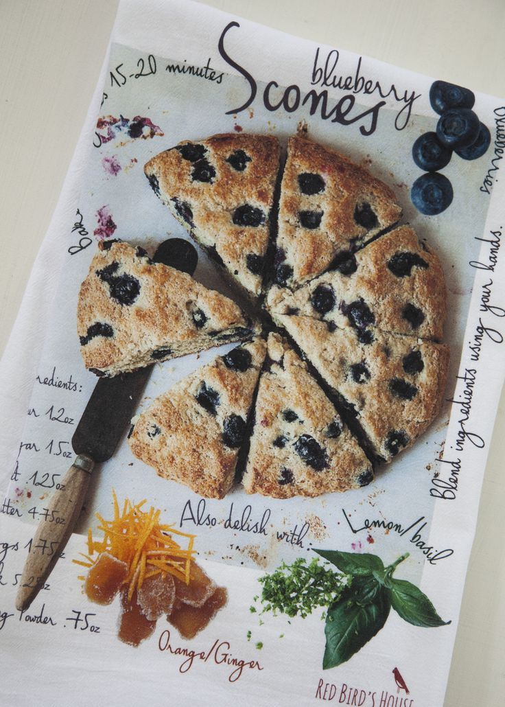 Tiny marbles of goodness on a simple scone recipe is printed in our awesome looking kitchen towels. We only use cotton flour sacks for our towels, the best drying/cleaning fabric invented. Long-loved