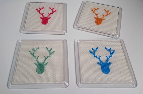 Stag Head Coasters Set of 4 Acrylic with by ThistleDubhEwe on Etsy