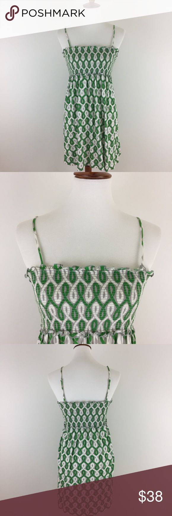 """Juicy Couture Green Pattern Tube Top Dress So cute - super soft modal/cotton blend - green/grey/white pattern - adjustable straps - smocked tube top bodice - built-in shelf bra - approx measurements lying flat: armpit to armpit 11"""" not stretched - length from bust to hem 26"""" - EUC (worn once) Juicy Couture Dresses"""