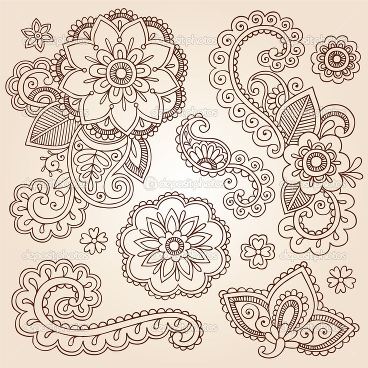 Henna Flowers | Henna Mehndi Doodles Abstract Floral Paisley Design Elements | Stock ...