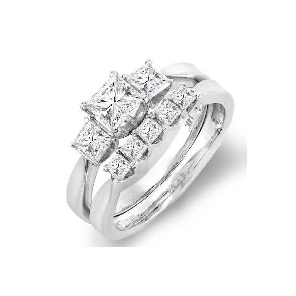 1 Carat Princess cut Diamond Bridal Set 10K White Gold