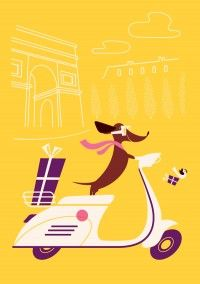 weeeeeeee!Dachshund Illustration, Dachshund Art, Cards Sets, Dogs, Dachshund Vespas Id, Boudin Greeting, Labs Partner, Monsieur Boudin, Design Stuff