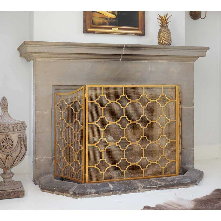 Bronze Mesh Fireplace Guard - Gold Fireplace screen - French Bedroom Fireplace Screen
