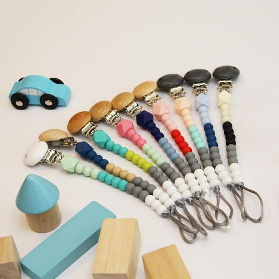 Colour Block Dummy Chain Silicone Bead - Pacifier Clip - Teething Beads - large range of colours - Colourblock Dummy Clips w/ hexagon beads