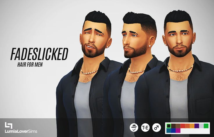 A short, spikey hair with faded sides for your sim guys.  There is a slight seam issue on the front of the hair that is unfixable at the moment. It is not noticable on darker colours, but it was too jarring on lighter colours for me to include them....