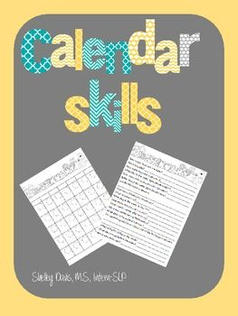 Calendar Skills for Life Skills/Speech Therapy