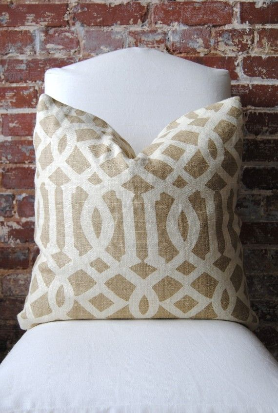 Etsy show recommended for pillows by decorator Katie Hackworth in House Beautiful magazine- Imperial Trellis  Schumacher  Coffee  Pillow Cover by MarthaAndAsh, $90.00