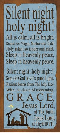 Silent Night, Holy Night poster with lyrics.