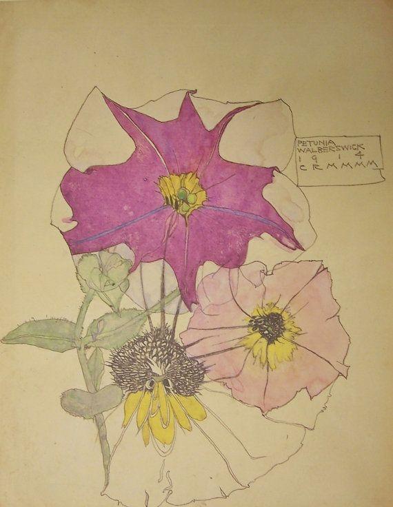 CHARLES RENNIE MACKINTOSH Flower Print  'Petunia by ScottishHeart