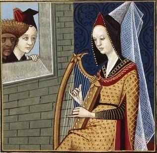 LXXIX-Sempronia la conjurée, femme romaine, jouant de la harpe (SEMPRONIA, a Roman woman) -- Giovanni Boccaccio (1313-1375), Le Livre des cleres et nobles femmes, v. 1488-1496, Cognac (France), traducteur anonyme. -- Illustrations painted by Robinet Testard -- BnF Français 599 f°68 -- See also at: http://www.photo.rmn.fr/cf/htm/CSearchZ.aspx?o=&Total=60&FP=24293353&E=2K1KTSJXQTUJ5&SID=2K1KTSJXQTUJ5&New=T&Pic=39&SubE=2C6NU023399L