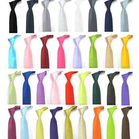 Casual Solid Color Skinny Tie For Men