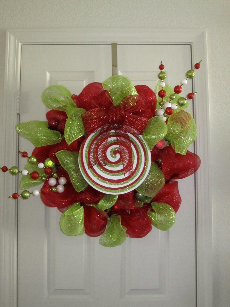Whimsical Christmas Wreath made of Deco Mesh by WWreathsByCandace