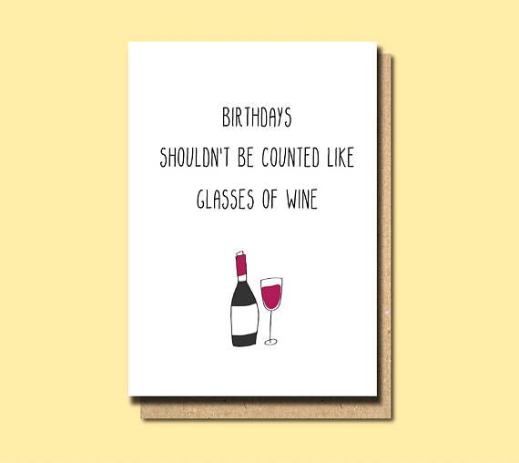 Friend Birthday Card Wine 30th Sister Funny Boss