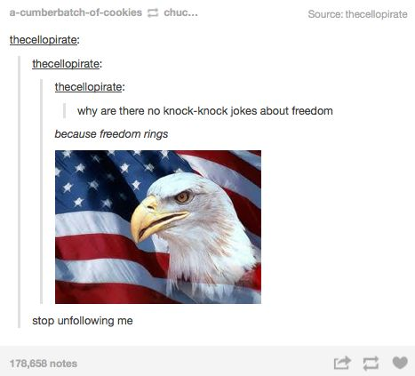 Why are there no knock knock jokes about freedom?