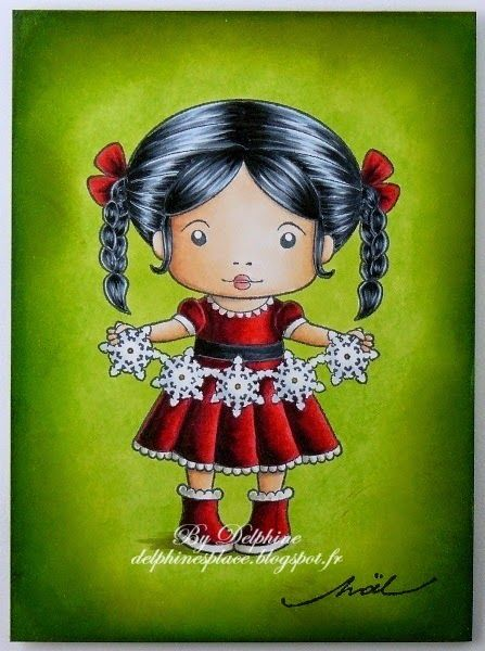 Copic Marker Europe: Joyeux Noël. Skin: BV20, E000, 00, 01, 11, 13 Lips: R20, 22 Hair: 100, B41, C5, 7 Dress and boots: 100, C5, 7, R35, 37, 39, 89, W1, 3 Snowflakes: BG000, C1, Y26 Background: YG03, 17 Ground: W1, 3