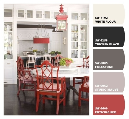 Have you seen this yet? Turn photo into a paint palette, from Sherwin-Williams.Cabinets, Decor, Ideas, Dining Room, Windsor Smith, Colors, Diningroom, Red Chairs, White Kitchens