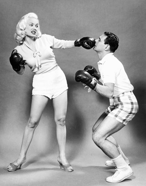 1950  Mamie Van Doren punches her husband Ray Anthony.  (via vintagegal)