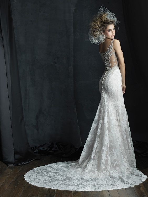 Image of a slim lace gown featuring crystalline beadwork and a delicate illusion back // Allure Couture C381