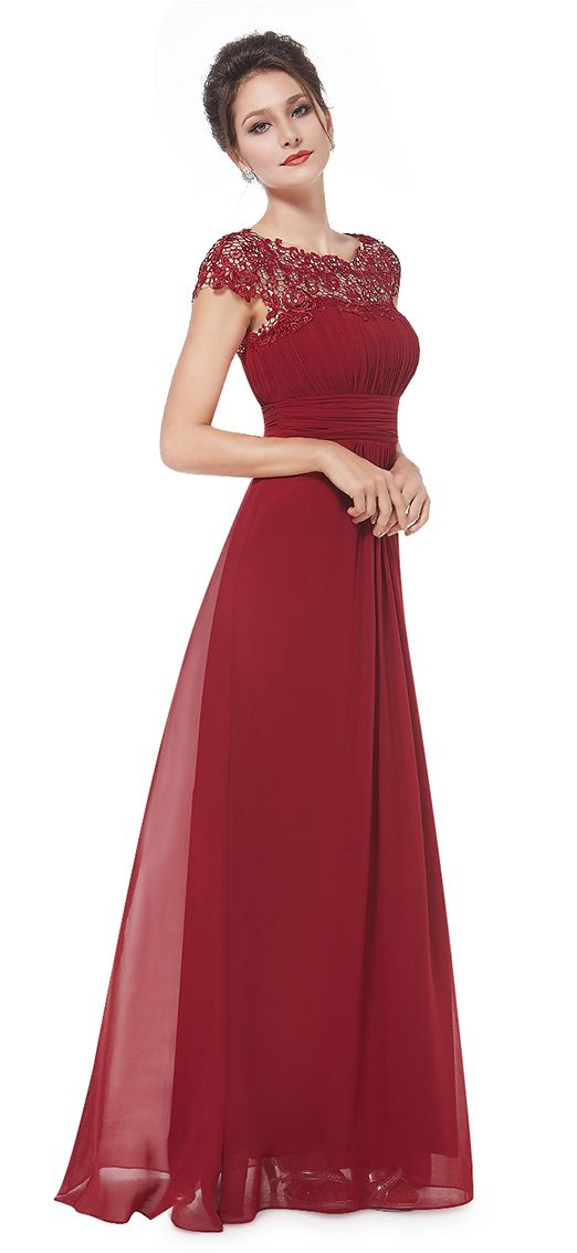 Burgundy Lacey Neckline Open Back Ruched Bust Evening Dress long,Prom Dress…