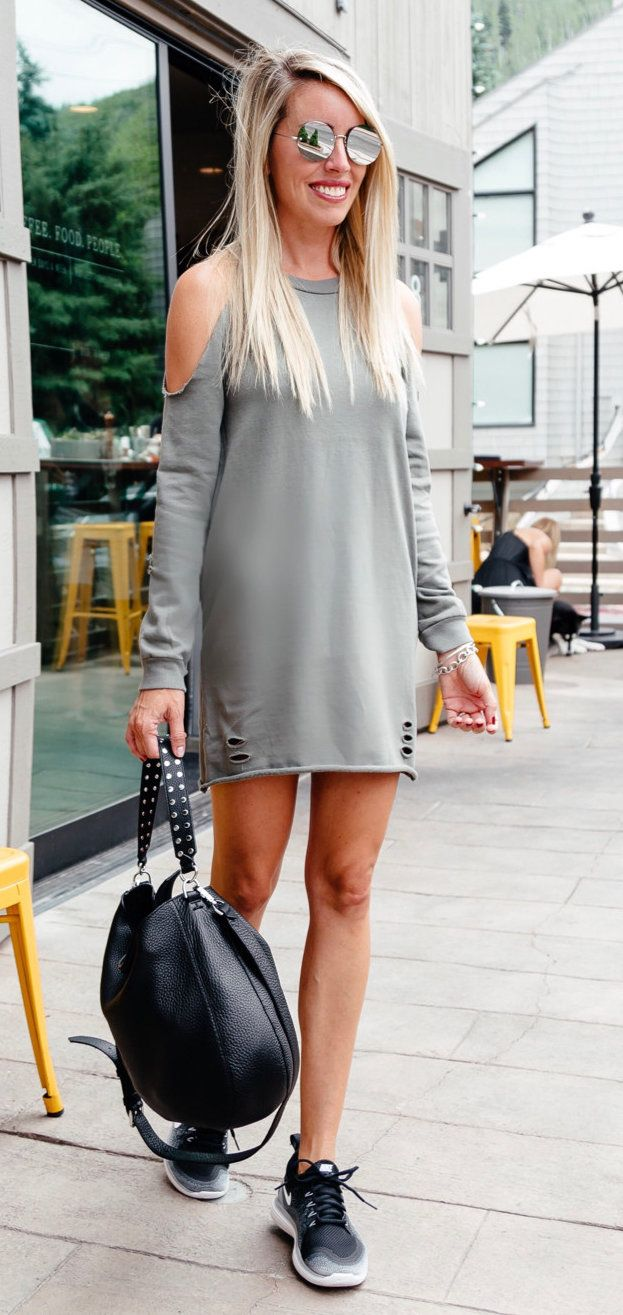 #summer #outfits After A Long Day Of Shooting Casual Was In Order For Dinner Tonight ! I Love These Sneakers (on Sale For $89) Because You Can Wear Them To Workout Or With A Casual Dress  Y'all This Sweatshirt Dress Is Actually Super Flattering And It's On Sale For $31