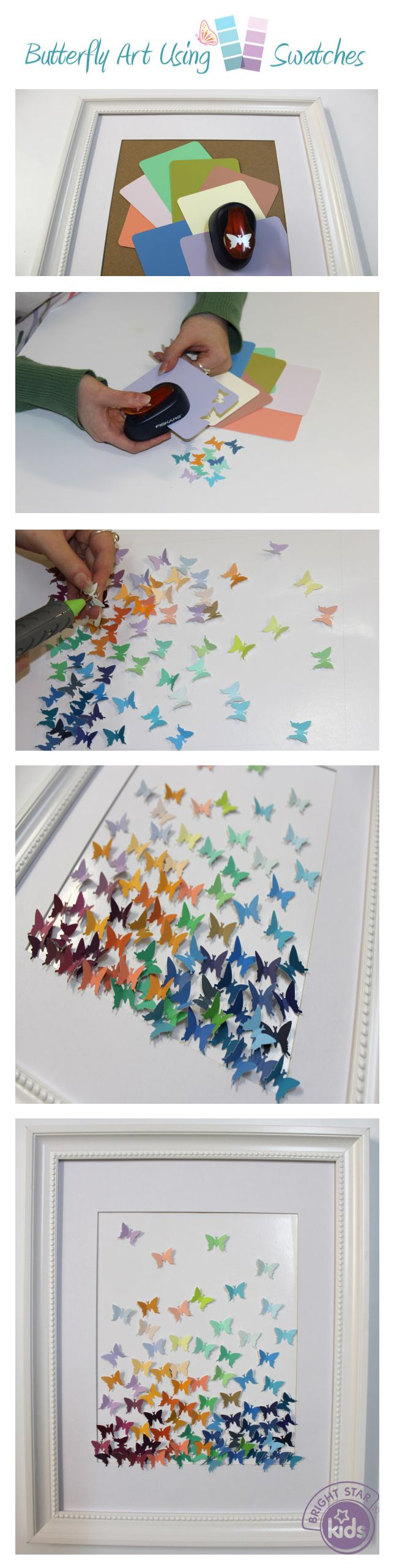 Butterfly Art Using Paint Swatches! We've put together an easy and beautiful DIY art project using a stamp punch and colour swatches! Check out Bright Star Kids blog here and create your own: http://www.blog.brightstarkids.com.au/butterfly-art-using-paint-swatches #craft #butterfly #diy