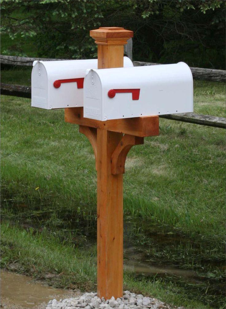 Cedar double mailbox post