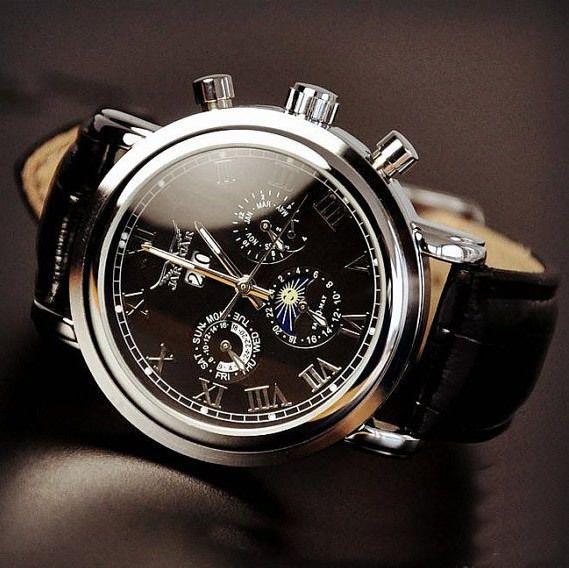 menu0027s watch retro style watch handmade watch leather watch automatic mechanical watch fashion day night wrist watch mens watches black