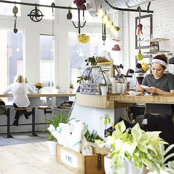 Homegrown goodness sprouts from every whitewashed nook and cranny at the Nolita juicery, boxes and pots of herbs and vegetables ready to be plucked, pulped and blended into tasty concoctions...